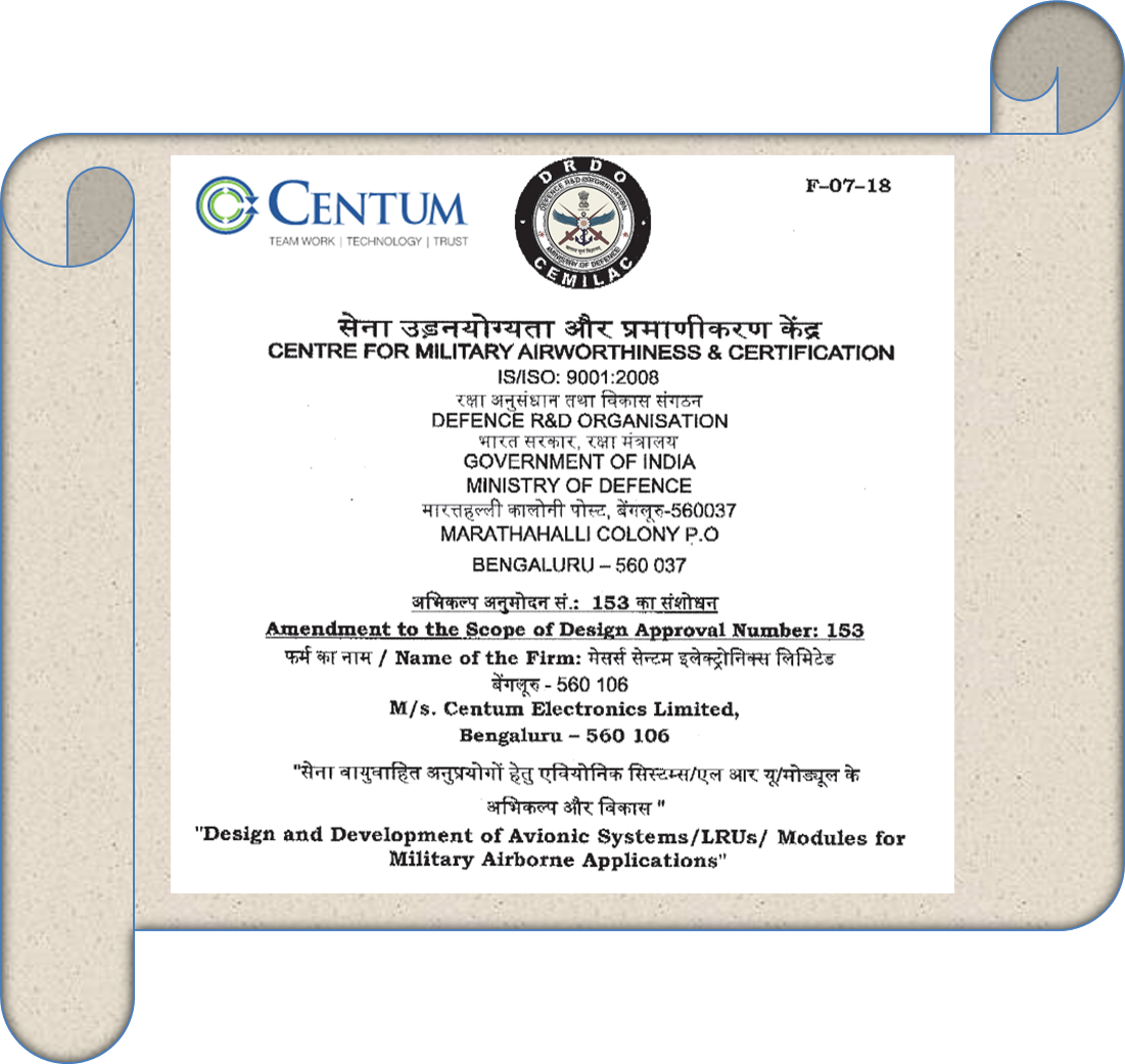 Centum Electronics awarded by Centre for Military Airworthiness and Certification (CEMILAC)